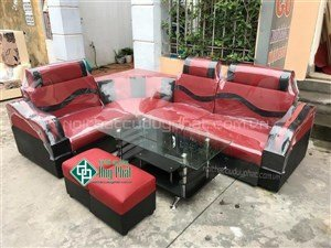 Thanh lý bộ sofa góc đen đỏ bọc da mới 100% tại Hải Phòng