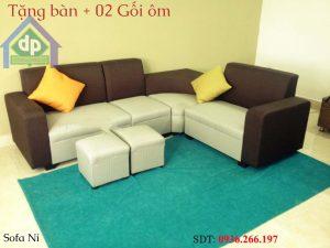 Thanh lý bộ sofa bọc nỉ góc màu trắng kết hợp màu xám mới 100% tại Hải Phòng