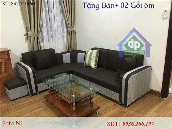 Thanh lý bộ bàn ghế sofa góc màu sám sọc mới 99% tại Hải Phòng