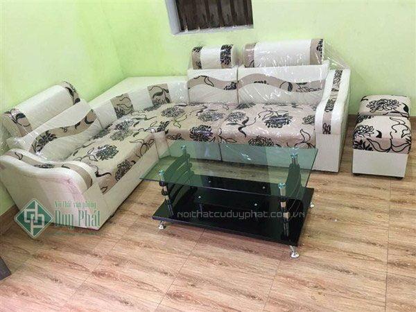 Thanh lý bộ sofa góc da pha nỉ màu hoa cúc 1m6x2m1 tại Bắc Ninh mới 100%