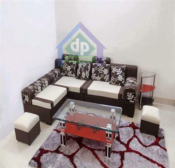 Thanh lý bàn ghế sofa góc nỉ xám hoa tại Bắc Từ Liêm giá4,800,000₫