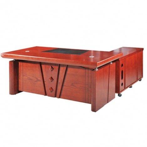 Mẫu 3: Bàn làm việc chữ L gỗ giáng hương thiết kế chân bàn hộp kín vững chắc