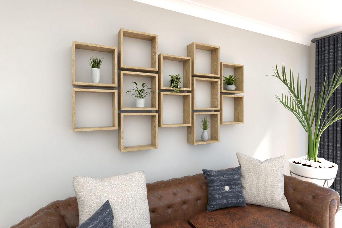 """Kệ gỗ treo tường phòng khách hình ô vuông đẹp """"nghiện"""""""