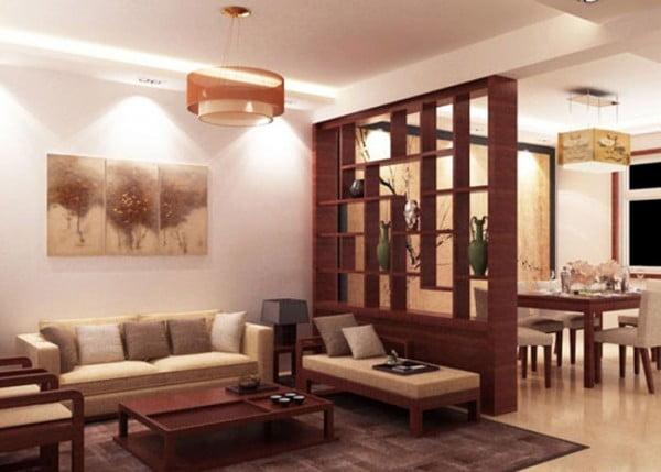 Vách ngăn đẹp cho phòng khách và phòng bếp