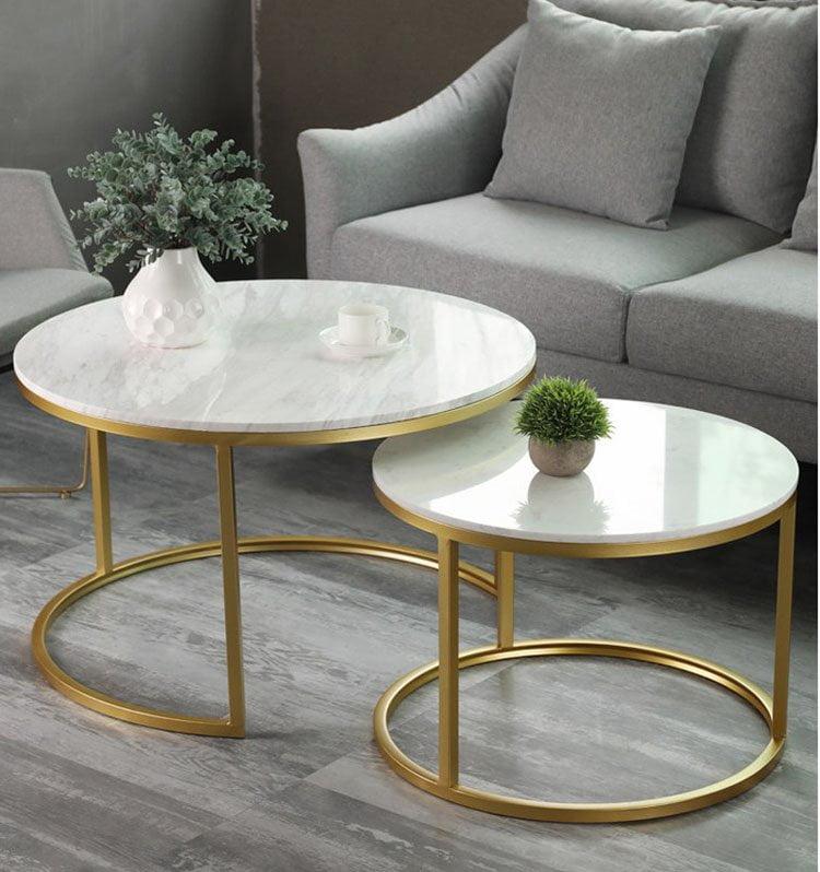 Mẫu bàn sofa đôi chân kim loại mạ vàng