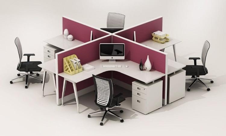 Các cụm bàn làm việc 4 người hiện đại phù hợp với mọi văn phòng