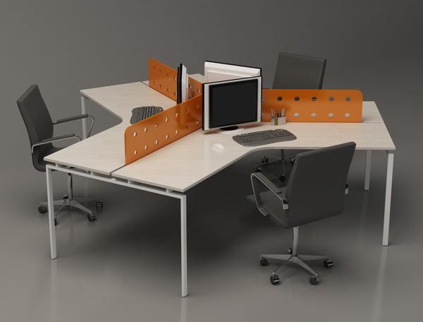 Cụm bàn làm việc 3 người ngồi hiện đại cho văn phòng đẹp cuốn hút